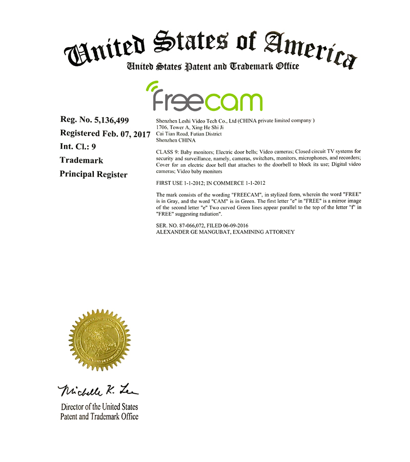 Freecam Trademark Certification Lsvt Cctv Camera